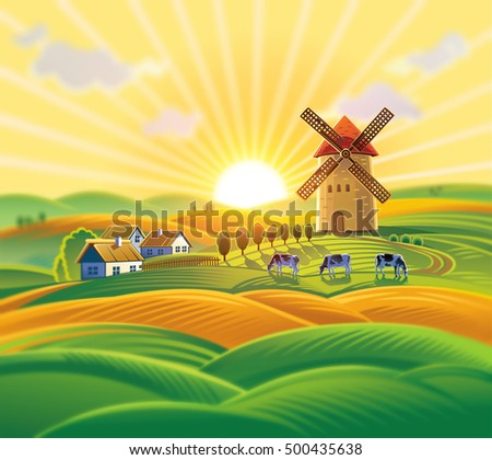 Rural landscape with a windmill, village and herd cows on the background of sunset.