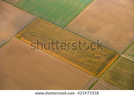 rural landscape with acre from hot air balloon in Frankfurt
