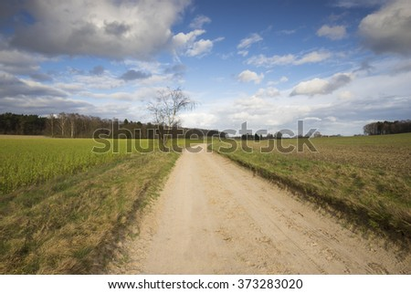 Rural landscape with blue sky and clouds - stock photo