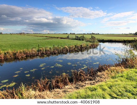 rural landscape with ditch - stock photo