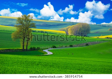 Rural landscape with green fields, road and blue cloudy sky , South Moravia, Czech Republic - stock photo
