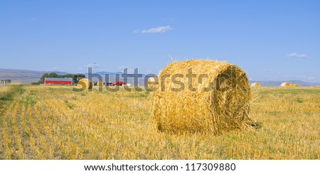 Rural landscape with hay bales and red farm house in background - stock photo