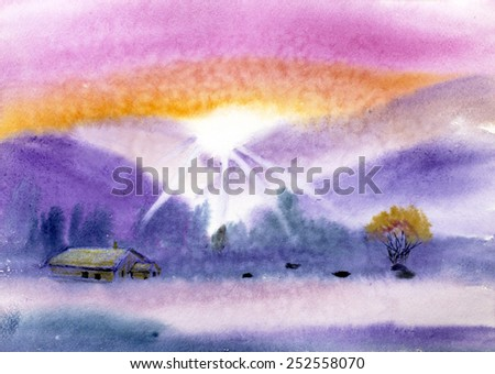 rural landscape with mountains and sky house - stock photo