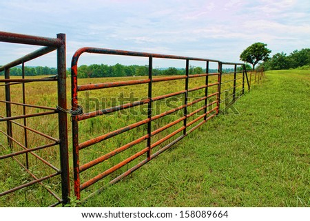 Rural Landscape With Red Fence