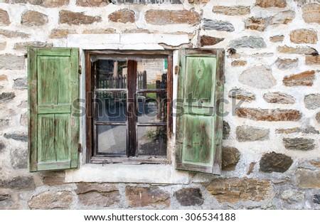 Rural Open Window - Stone Wall Background - stock photo