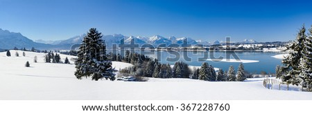 rural panorama landscape in Bavaria at winter with snow
