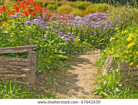 rural retro fences in the country garden - stock photo