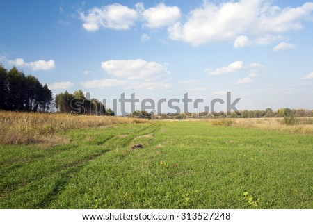 Rural road across green field. Blue sky and white cloud - stock photo