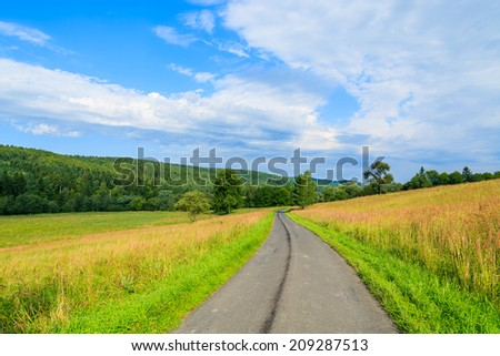 Rural road along green fields to Arlamow village on sunny summer day, Bieszczady Mountains, Poland