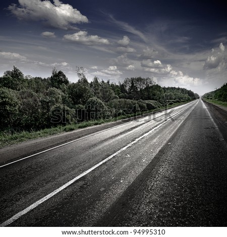 Rural road. Evening. - stock photo
