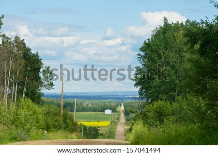Rural road going down hill with canola fields in the background - stock photo