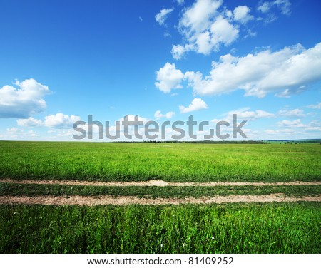 Rural road in green meadow and blue sky with clouds
