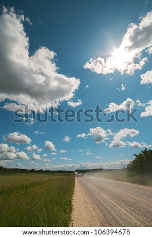 Rural road in summer time.