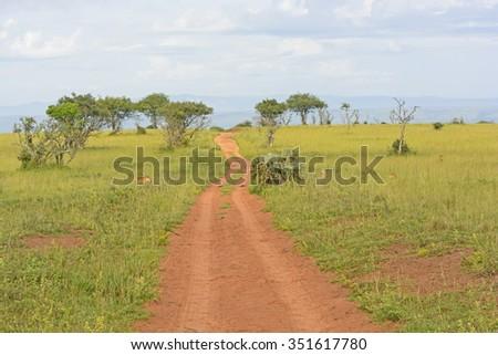 Rural Road in the African Veldt in Murchison Falls National Park in Uganda - stock photo