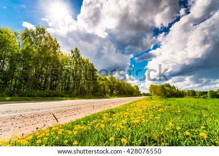 Rural road with dandelions on the sidelines passing through fields and woods illuminated by the sun. View from the side of the road - stock photo