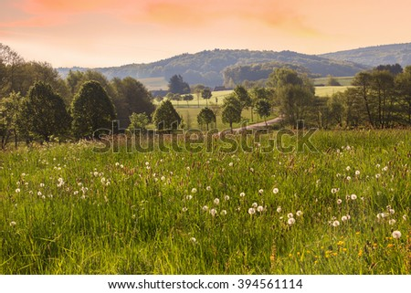 rural saarland landscape in the morning - stock photo