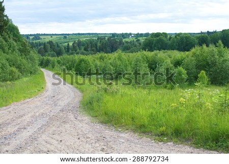 rural sandy dirt road leading past a forest - stock photo