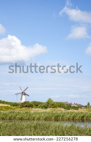 Rural Scene of Skerries Traditional Old Windmill