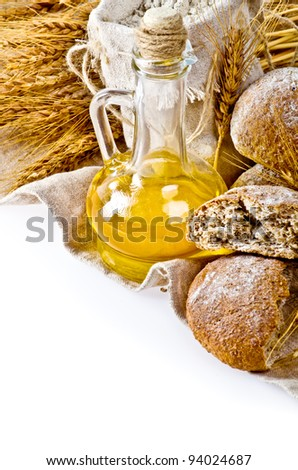 Rural still life on isolated white background
