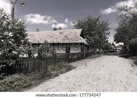 Rural street in Hungary. The old houses and details had a special mood.