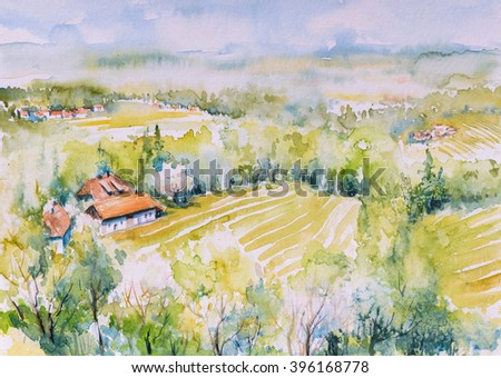 Rural summer landscape.Picture created with watercolors.