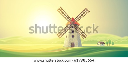 Rural summer landscape with windmills.
