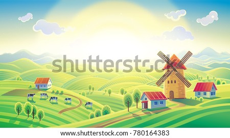 Rural sunrise landscape with a mill and village in cartoon style. Raster illustration.