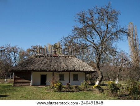 Rural traditional Ukrainian house - stock photo