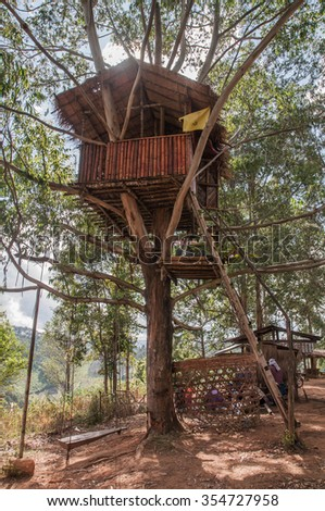 Rural Tree House for thailand - stock photo