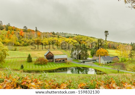 Rural Vermont in Autumn and Cloudy Sky - stock photo