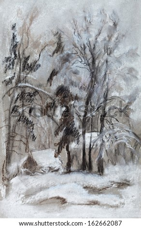 Rural winter landscape, cloudy day, December