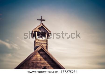 Rural wood church cross  - stock photo