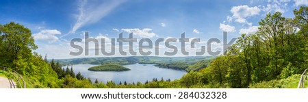 Rursee panorama at the eifel national park in germany