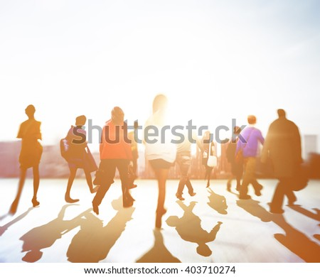 Rush Hour City Life Crowed People Concept - stock photo