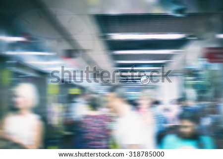 Rush Hour in a subway, motion blur.