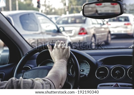 Rush hour in car - stock photo
