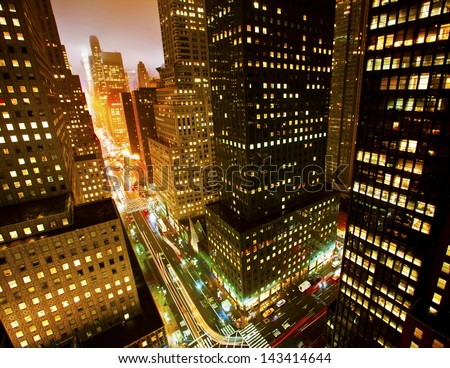 Rush hour on 42nd Street in New York City - stock photo