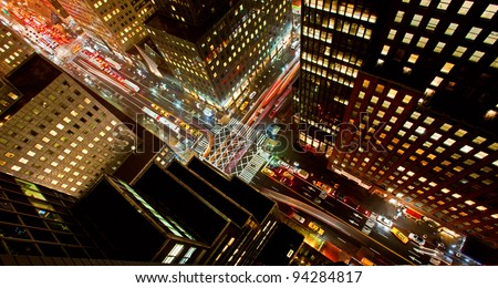 Rush hour on 42nd Street in New York City - stock photo