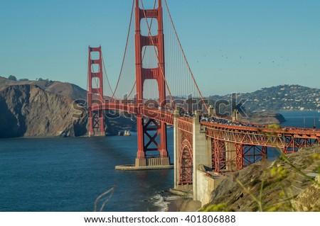 Rush hour on the Golden Gate bridge, San-Francisco,USA ,view  from Baker beach. - stock photo