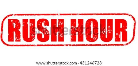 rush hour stamp on white background. - stock photo