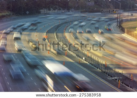 Rush hour traffic on the Hollywood Freeway in Los Angeles, CA - stock photo