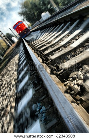 Rushing train to undefended nature - stock photo