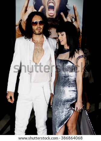 """Russell Brand and Katy Perry at the World premiere of """"Get Him To The Greek"""" held at the Greek Theater in Hollywood, California, United States on May 25, 2010. - stock photo"""