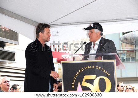 Russell Crowe and Jay Leno at the Russell Crowe star ceremony into the Hollywood Walk of Fame, Hollywood, CA 04-12-10 - stock photo