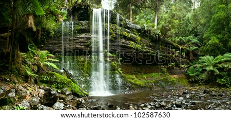 Russell Falls, Mount Field National Park, Central Tasmania in autumn - stock photo