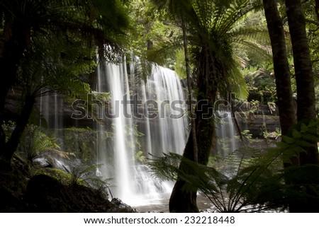 Russell Falls - Mount Field National Park - Tasmania - stock photo