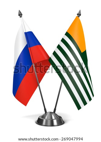 Russia and Azad Kashmir - Miniature Flags Isolated on White Background. - stock photo