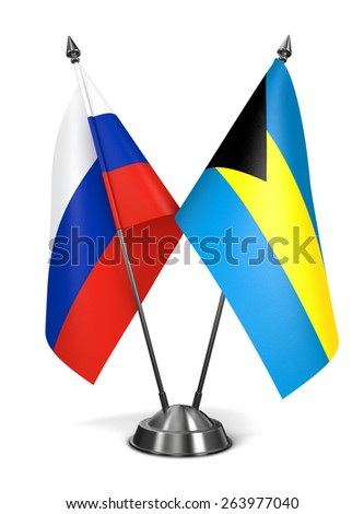 Russia and Bahamas - Miniature Flags Isolated on White Background. - stock photo