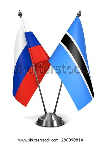 Russia and Botswana - Miniature Flags Isolated on White Background. - stock photo