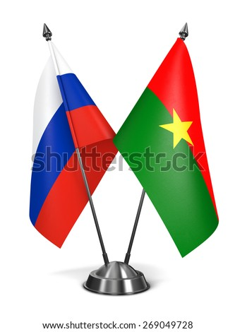 Russia and Burkina Faso - Miniature Flags Isolated on White Background. - stock photo